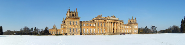 Blenheim Palace in the snow.